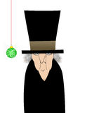 Scrooge Isolated on White. Humorous illustration cartoon of Ebenezer Scrooge with one green ornament Stock Image