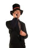Scrooge sul telefono Fotografie Stock