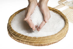 Scrub hands with salt Royalty Free Stock Image