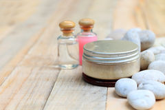 The scrub herbs with aroma oil Royalty Free Stock Photo