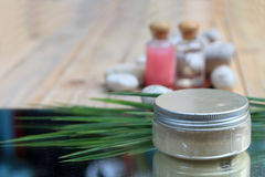 The scrub herbs with aroma oil. On wooden blur background Stock Images