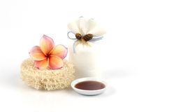 Scrub with honey spa skin easily at home. Royalty Free Stock Photography