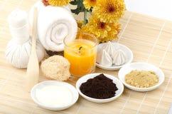 Scrub recipe coffee, yogurt, turmeric, honey Stock Photos