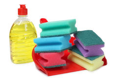 Scrub whit cleaning products Stock Photo