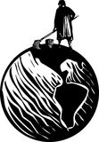 Scrub Woman World. Woodcut style expressionist image of maid or scrub woman cleaning the Earth Stock Photography