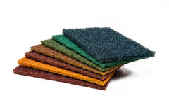 7 Scrubber Pads photo on white background. Set of 7 colors Scrubber Pads photo on white background Royalty Free Stock Image