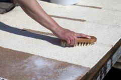 Scrubbing carpet Stock Photo