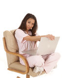 Scrubs sitting laptop serious Stock Photography