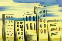 Scruffy buildings. Very loose painting of city buildings Stock Image