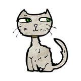 Scruffy cat cartoon. Retro cartoon with texture. Isolated on White Royalty Free Stock Photo