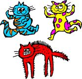 Scruffy cats. Group of colourful cartoon scruffily drawn cats Royalty Free Stock Photos