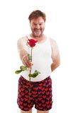Scruffy Lover with One Rose. Scruffy looking guy in his underwear handing you a single red rose. Isolated on white royalty free stock photo