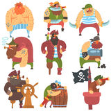 Scruffy Pirates Cartoon Characters Set. Cool Filibuster Cut-Throats Flat Vector Childish Illustrations Isolated On White Background Stock Photography