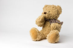 Scruffy teddy bear with copper kettle on white background Royalty Free Stock Photo