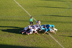 The scrum. A view of a scrum, taken during the rugby match Aironi vs Ulster, in the group stage of the Heineken Cup Royalty Free Stock Image