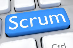 Scrum concept. Render illustration of computer keyboard with the script Scrum on pale blue button Stock Photo