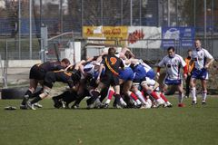 A scrum between Czech Republic and Belgium. A scrum (the eight forwards from each team bind together and push against each other) in the rugby division 2B Stock Image