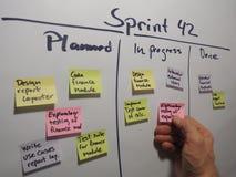 Scrum diário que actualiza o plano da sprint imagem de stock
