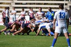 Scrum do rugby Fotografia de Stock