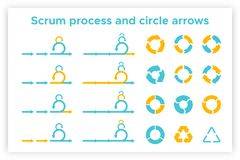 Scrum info graphic diagram element vector set. Illustration. Agile diagram, recycle symbol and circle chart element collection. Group of blue and orange symbols royalty free illustration