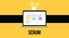 Scrum methodology with laptop and sticky notes  yellow background Stock Photo