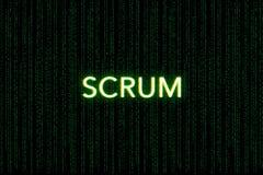 Scrum, palavra-chave de ágil, em um fundo verde da matriz imagens de stock royalty free