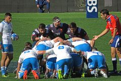 Ready scrum. A scrum in the rbs 6 nations rugby match italy vs france played at rome. 11/3/2017 Royalty Free Stock Image