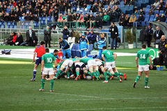 The scrum. A scrum during the rbs rugby match italy vs ireland played at rome.7/2/2015 Stock Images
