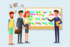 Scrum task board whith sticky note cards. Cartoon scrum master. Business man and team at the scrum board. Scrum task board with sticky note cards. Flat design Stock Photo