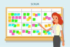 Scrum task board whith sticky note cards. Stock Photo