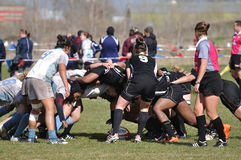 A Scrum in a Women's College Rugby Match. A scrum in a women's collegiate rugby match between Army and the North Carolina Tar Heels in the NCAA Division I Stock Photography