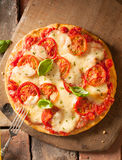 Scrumptious fresh cheese and tomato pizza Royalty Free Stock Photo