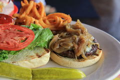 Scrumptious hamburger and fries with sauteed onions as garnish Stock Photos