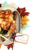 Scrumptious roast turkey chicken on platter stock photo
