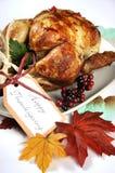 Scrumptious roast turkey chicken on platter stock photos