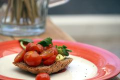 Scrumptious tomatoes and avocado on wholemeal toast. Tomatoes drenched in olive oil, with ripe avocados and basil leaf, served on wholemeal toast royalty free stock photos