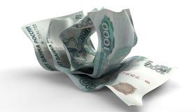 Scrunched acima das notas do rublo de russo Fotografia de Stock Royalty Free