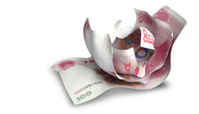 Scrunched omhoog Chinees Yuan Notes royalty-vrije stock afbeelding