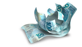 Scrunched Up Brazilain Real Notes Royalty Free Stock Photos