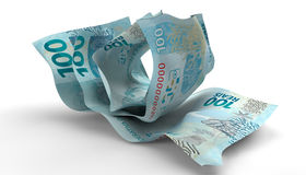 Scrunched Up Brazilain Real Notes Royalty Free Stock Photography