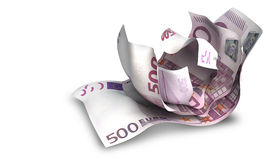 Scrunched Up Euro Notes Stock Photo