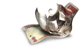Scrunched Up Indian Rupee Notes Royalty Free Stock Photos