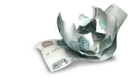 Scrunched Up Russian Ruble Notes Royalty Free Stock Images