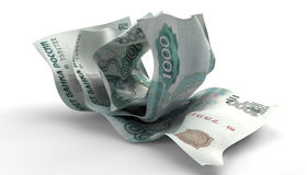 Scrunched Up Russian Ruble Notes Royalty Free Stock Photography