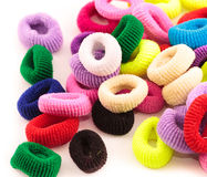 Scrunchies - colored elastic bands for tightening the hair for children Stock Photo