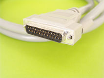SCSI Cable. Single computer cable over green background Royalty Free Stock Photo