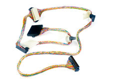 SCSI data cable on white. SCSI data cable with connectors over white background Stock Images