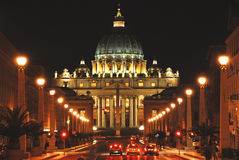 Sct. Peter's Cathedral in Rome. By night Stock Photo