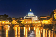 Sct peters church. Night view in rome af sct peters church Royalty Free Stock Photos