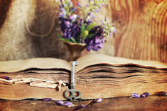Sctrathes effect on photo retro book on wooden table key Stock Photos